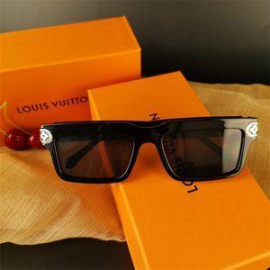 💥NWTLV Gold Trim Black Square Frame Anti-UV Sunglasses Monongram Glasses